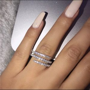 Sterling Silver Pave AAAAA CZ's Twist Ring